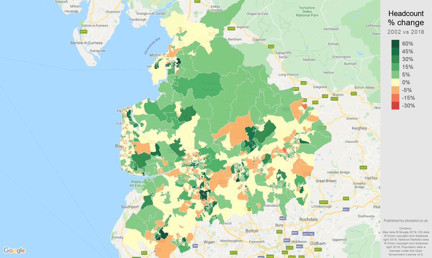 Lancashire headcount change map