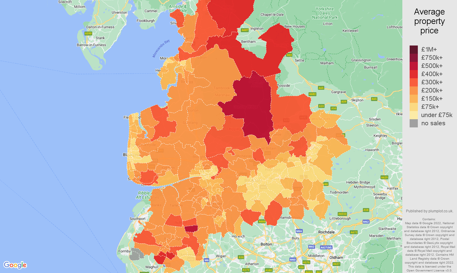Lancashire house prices map
