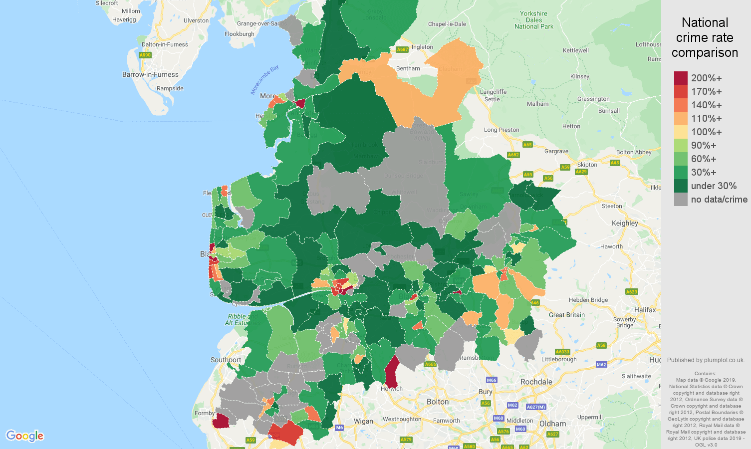 Lancashire possession of weapons crime rate comparison map