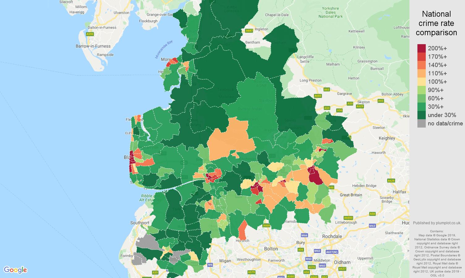 Lancashire public order crime rate comparison map