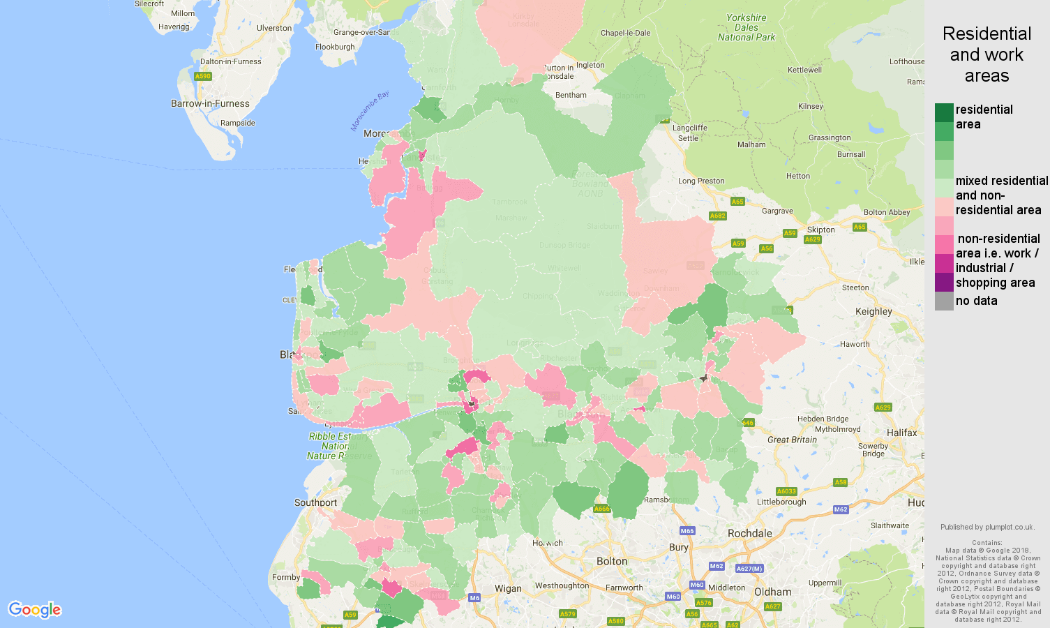 Lancashire residential areas map