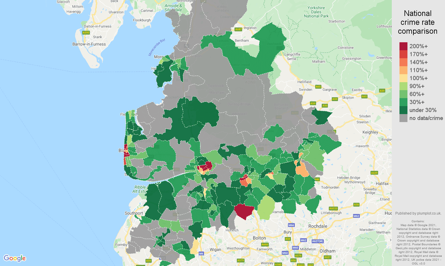 Lancashire robbery crime rate comparison map