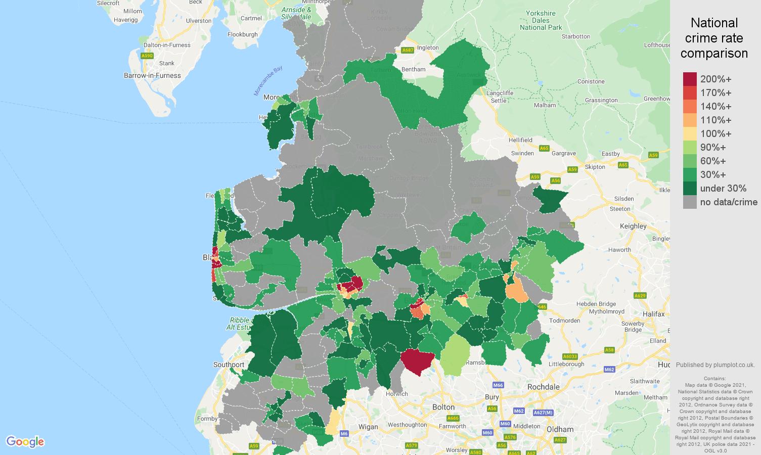 Lancashire robbery crime rate comparison map