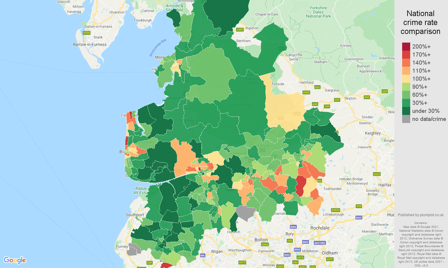Lancashire vehicle crime rate comparison map