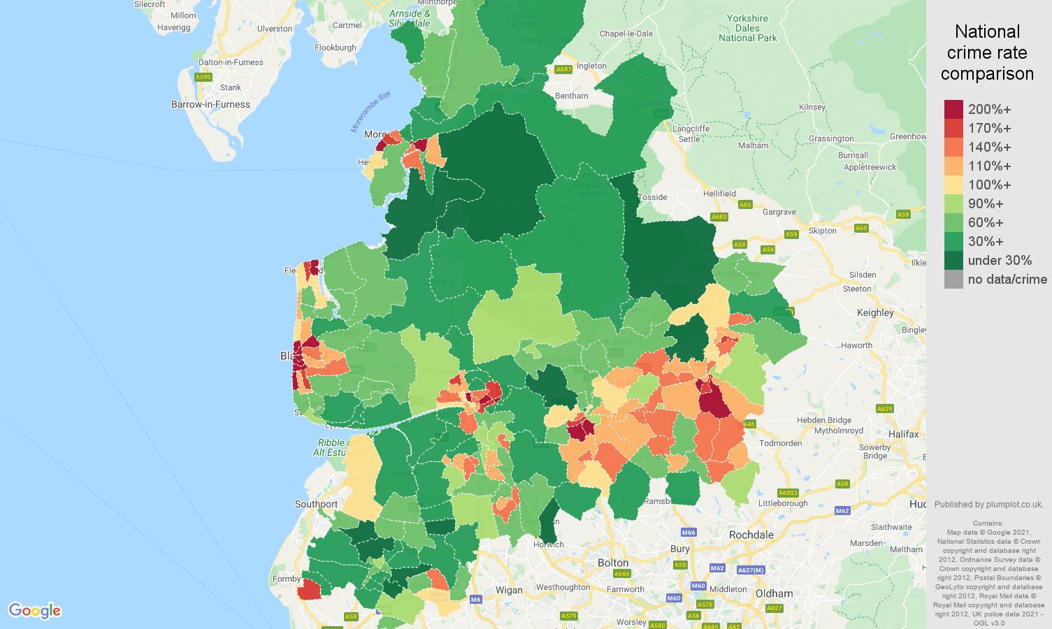 Lancashire violent crime rate comparison map