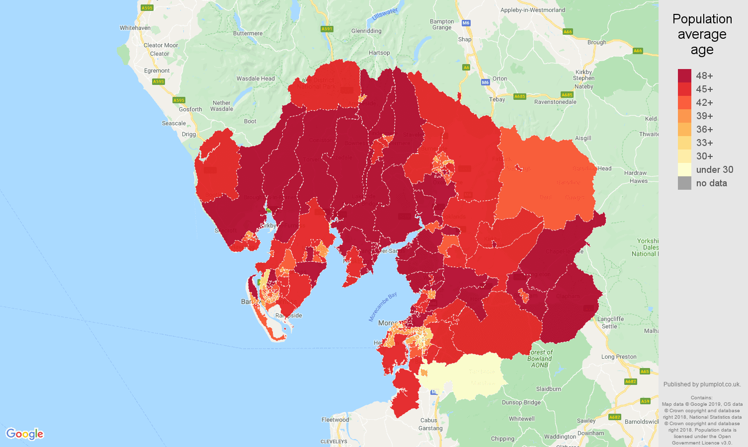 Lancaster population average age map