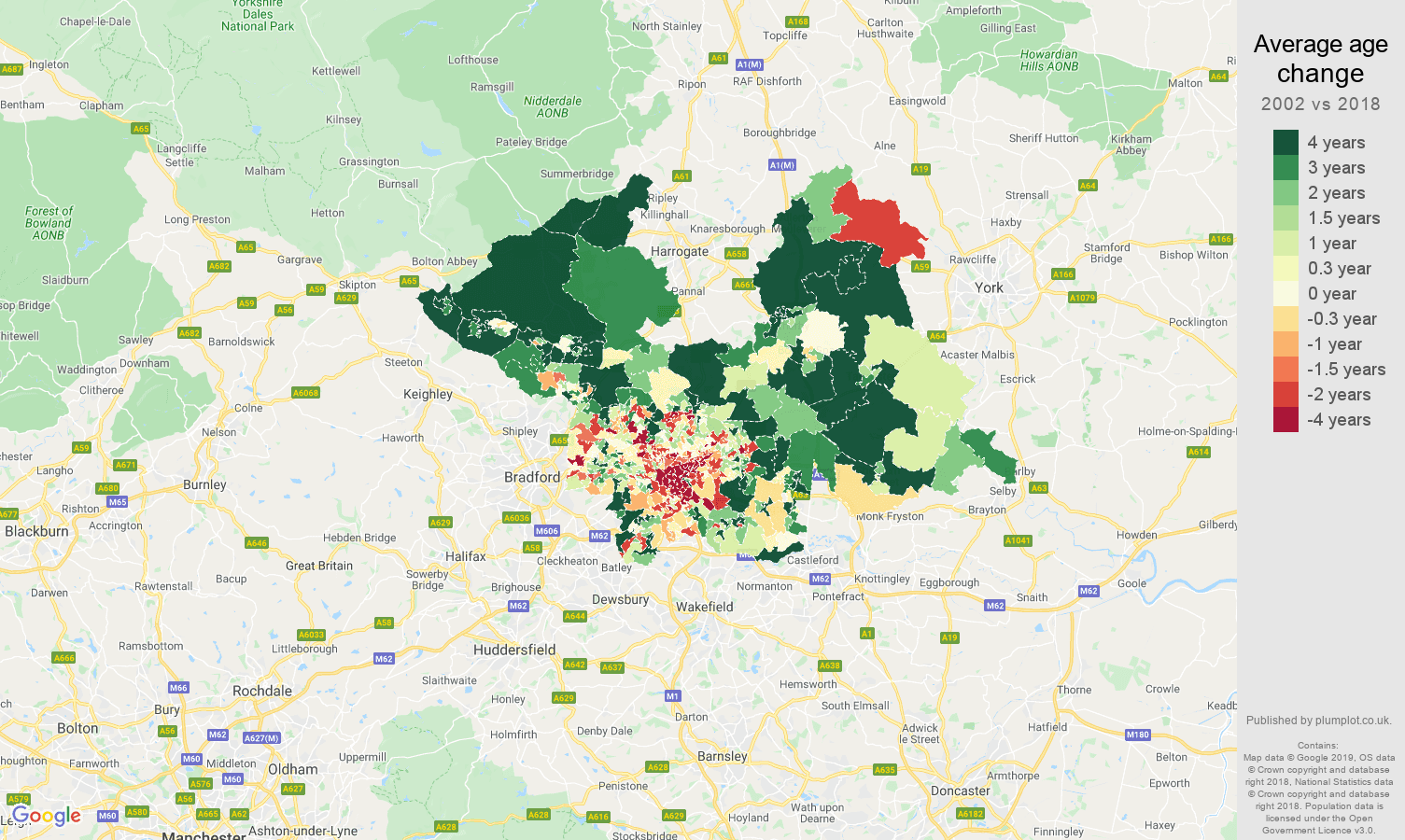 Leeds average age change map