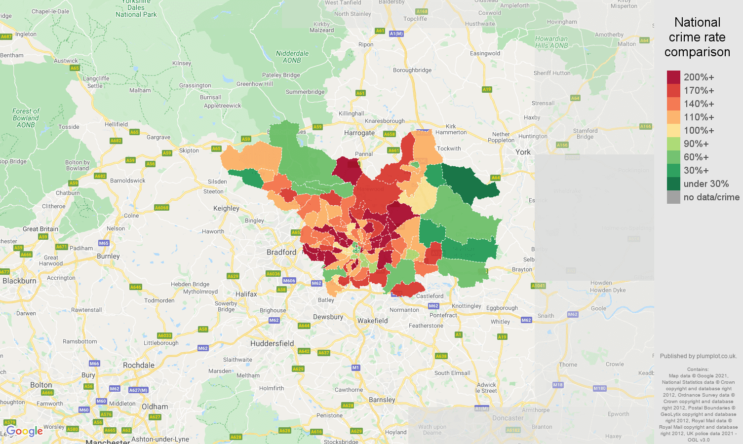 Leeds burglary crime rate comparison map
