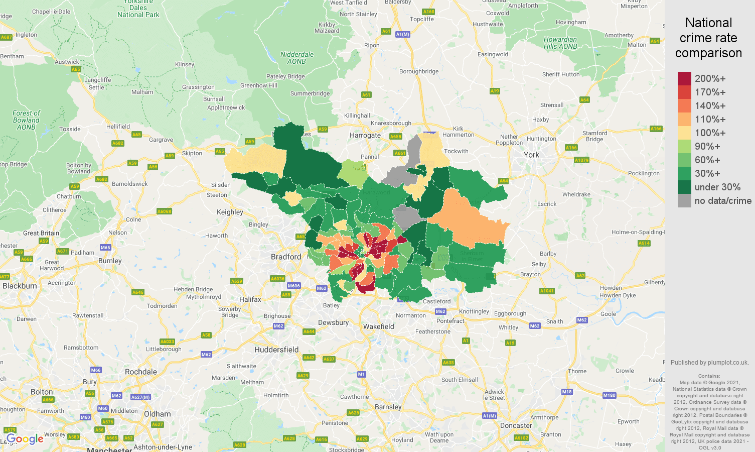 Leeds drugs crime rate comparison map