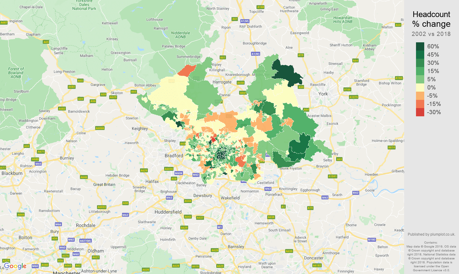 Leeds headcount change map