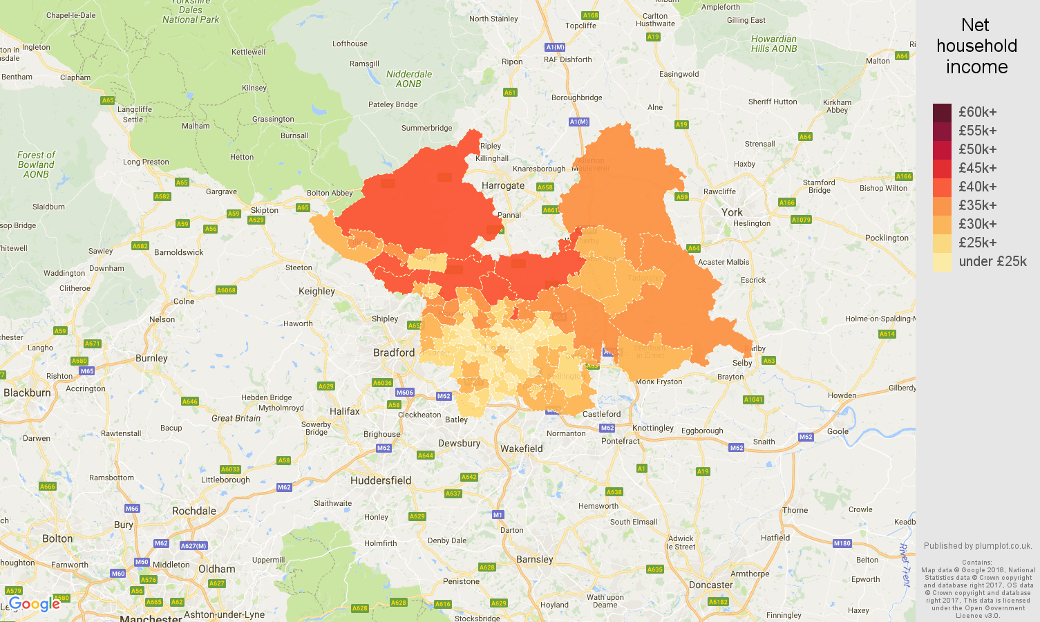 Leeds net household income map