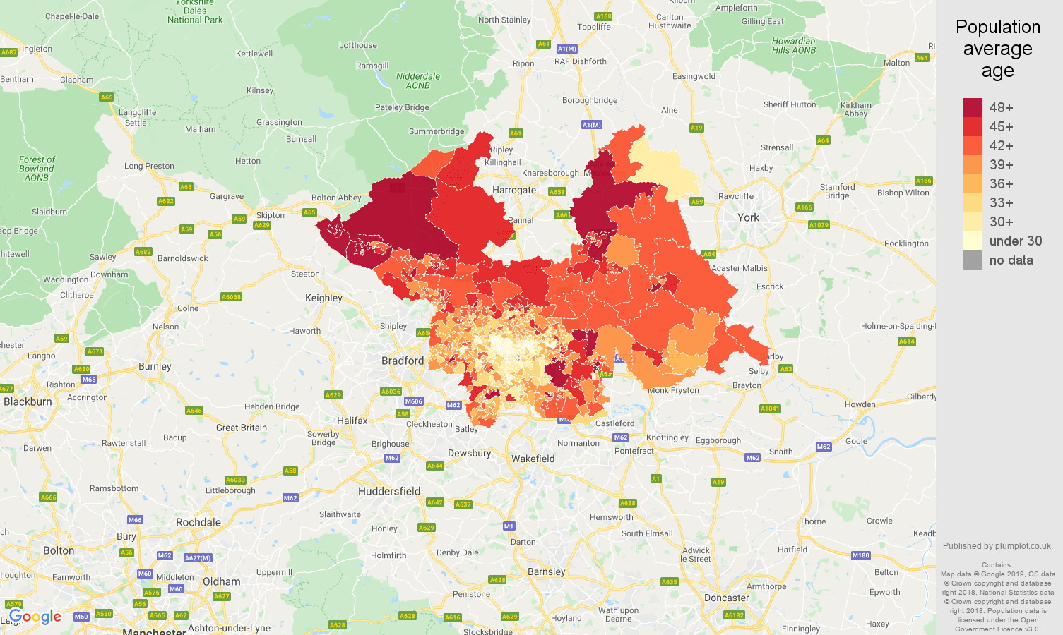 Leeds population average age map