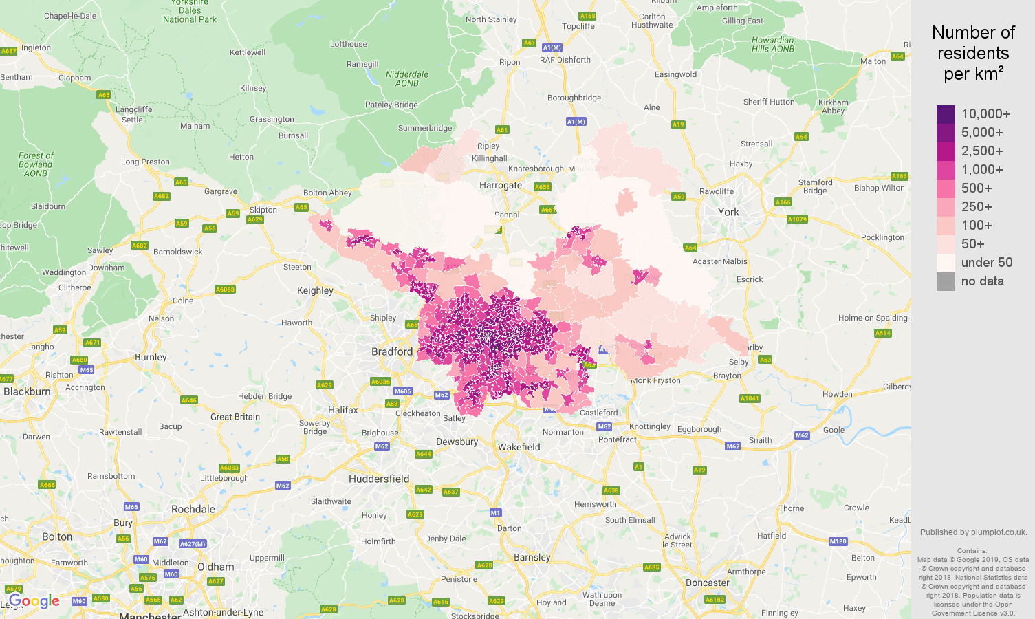 Leeds population density map