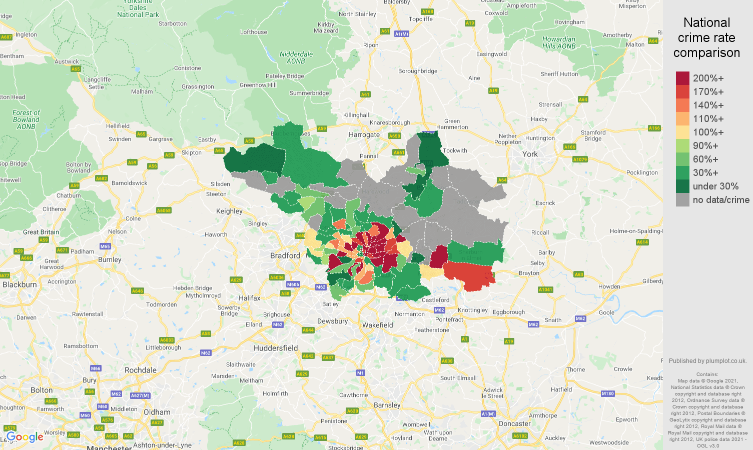 Leeds robbery crime rate comparison map