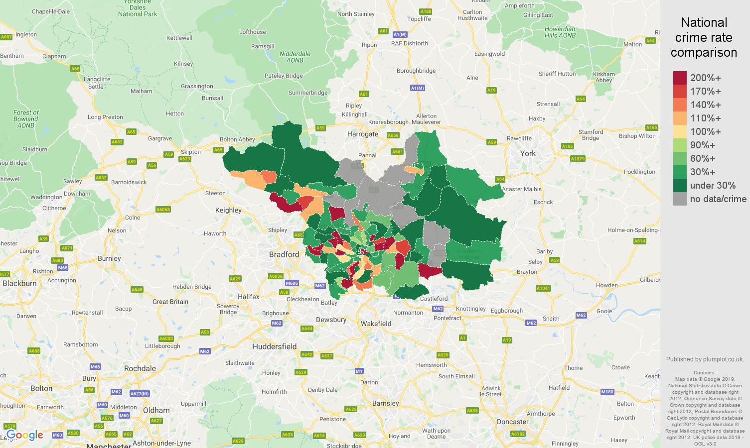 Leeds shoplifting crime rate comparison map