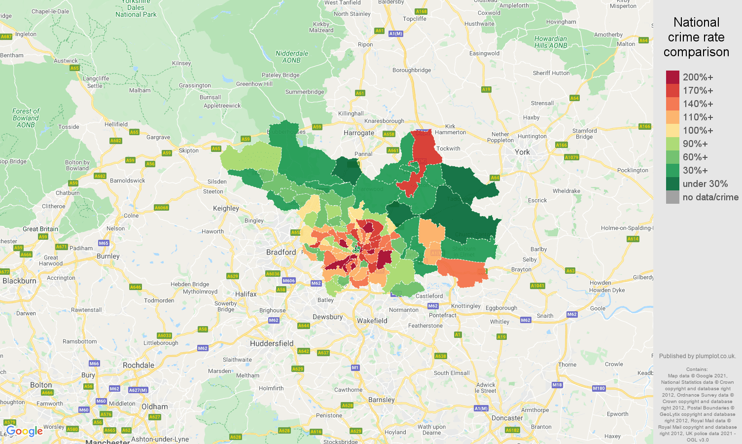 Leeds vehicle crime rate comparison map