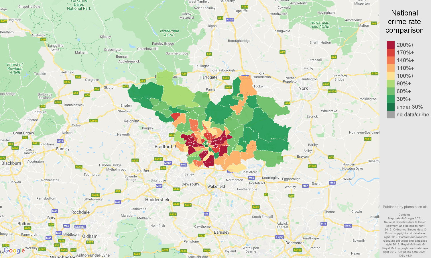 Leeds violent crime rate comparison map