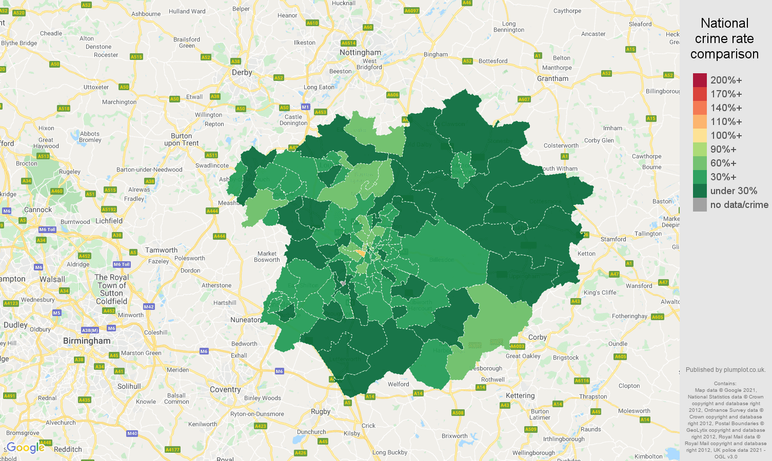 Leicester antisocial behaviour crime rate comparison map