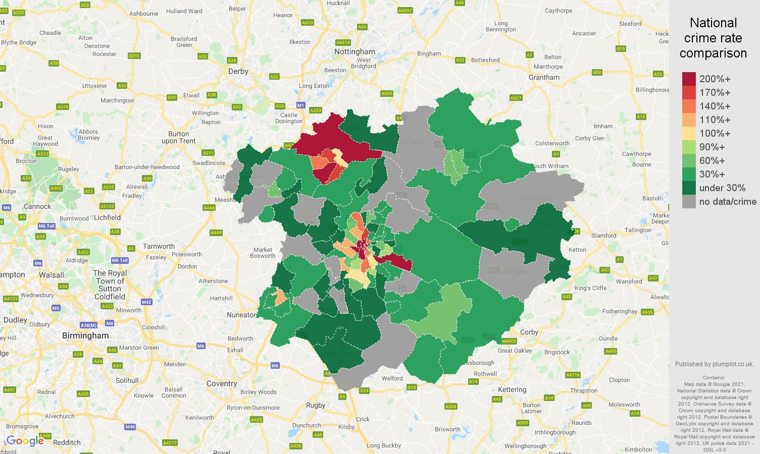 Leicester bicycle theft crime rate comparison map