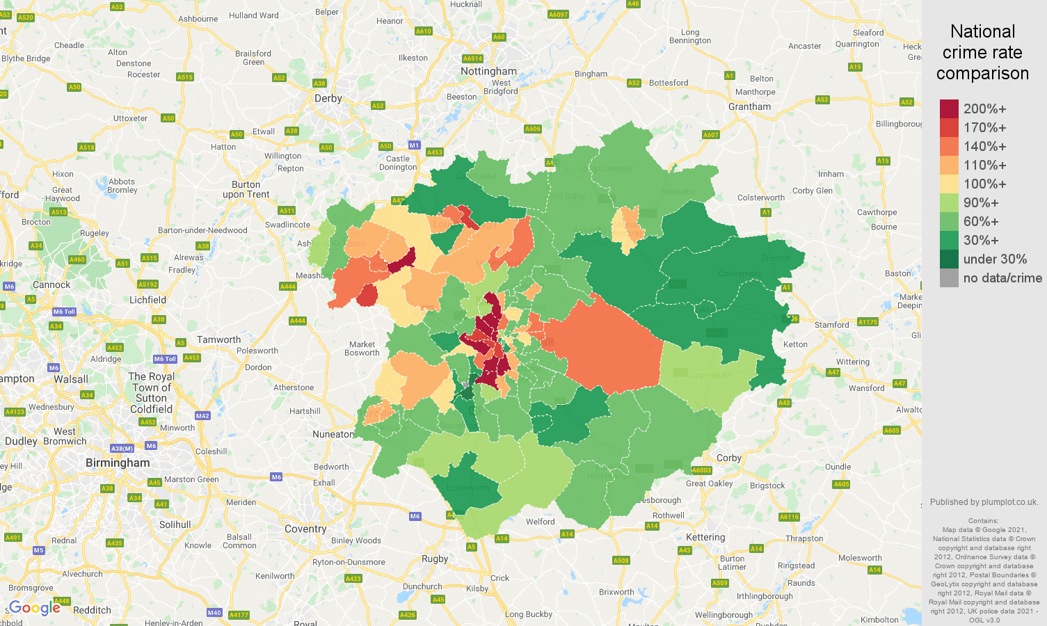 Leicester criminal damage and arson crime rate comparison map