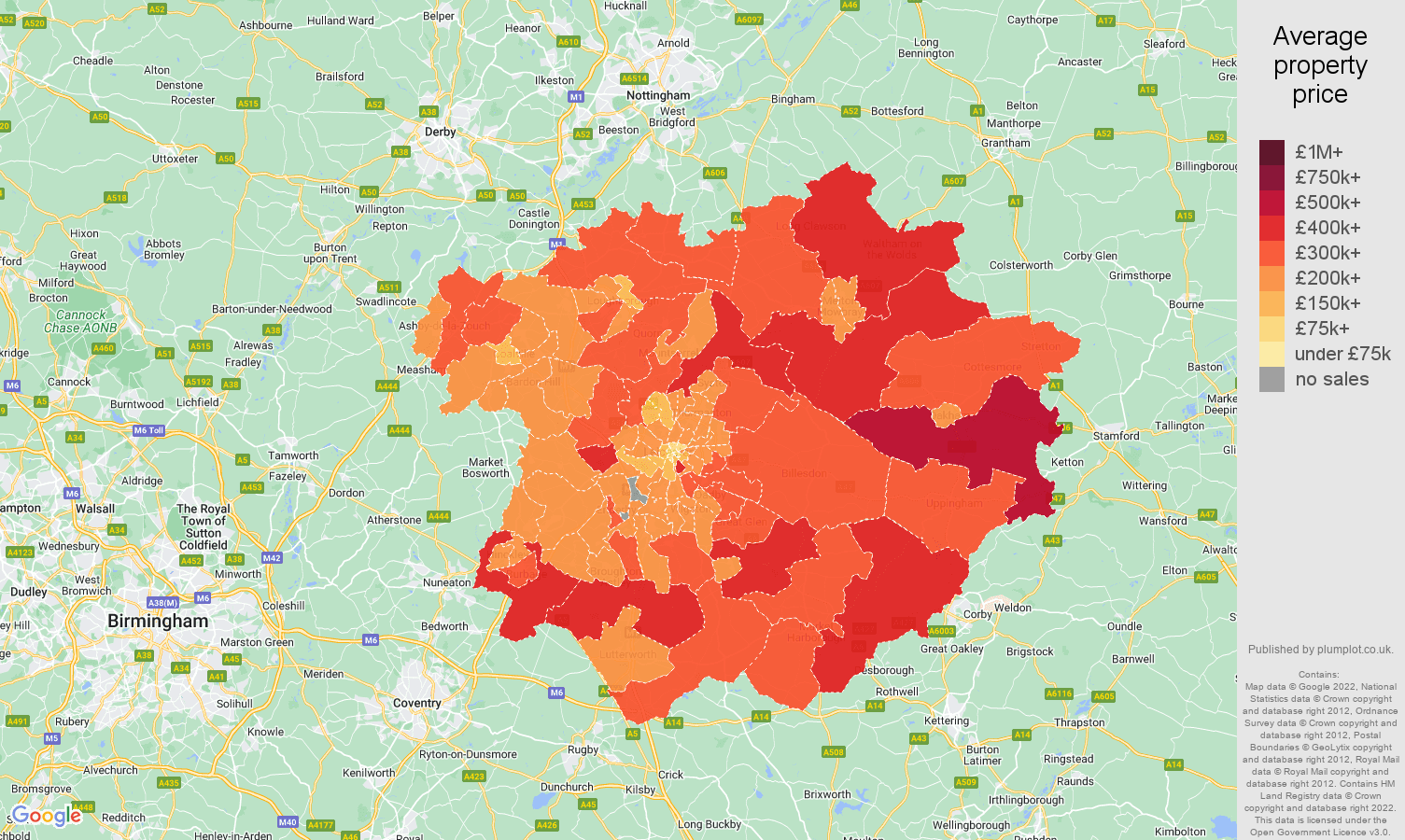Map Of Uk Leicester.Leicester House Prices In Maps And Graphs