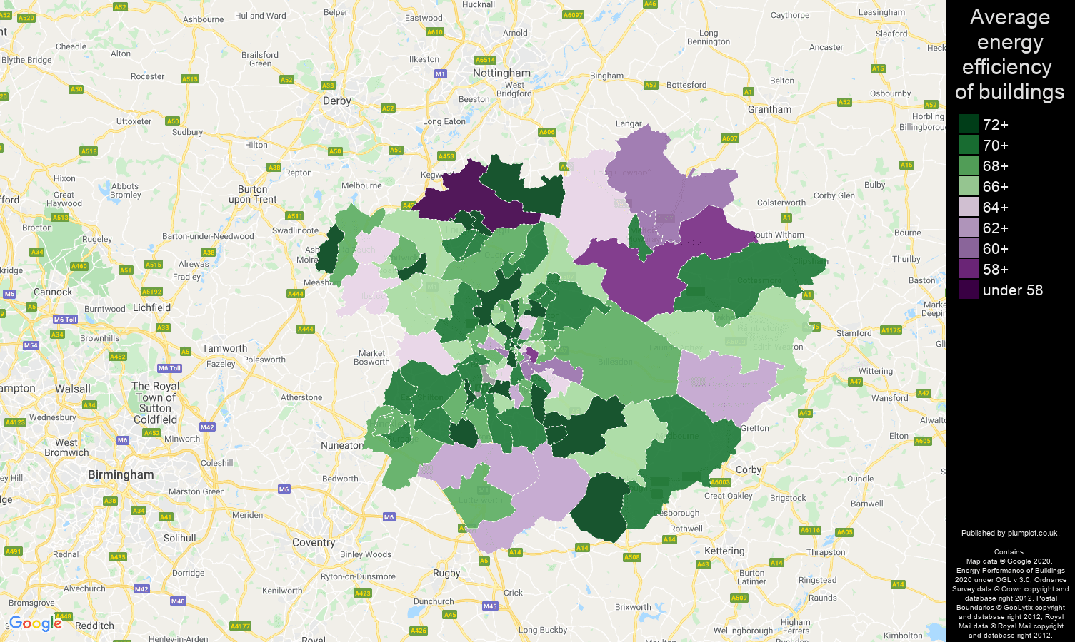 Leicester map of energy efficiency of flats