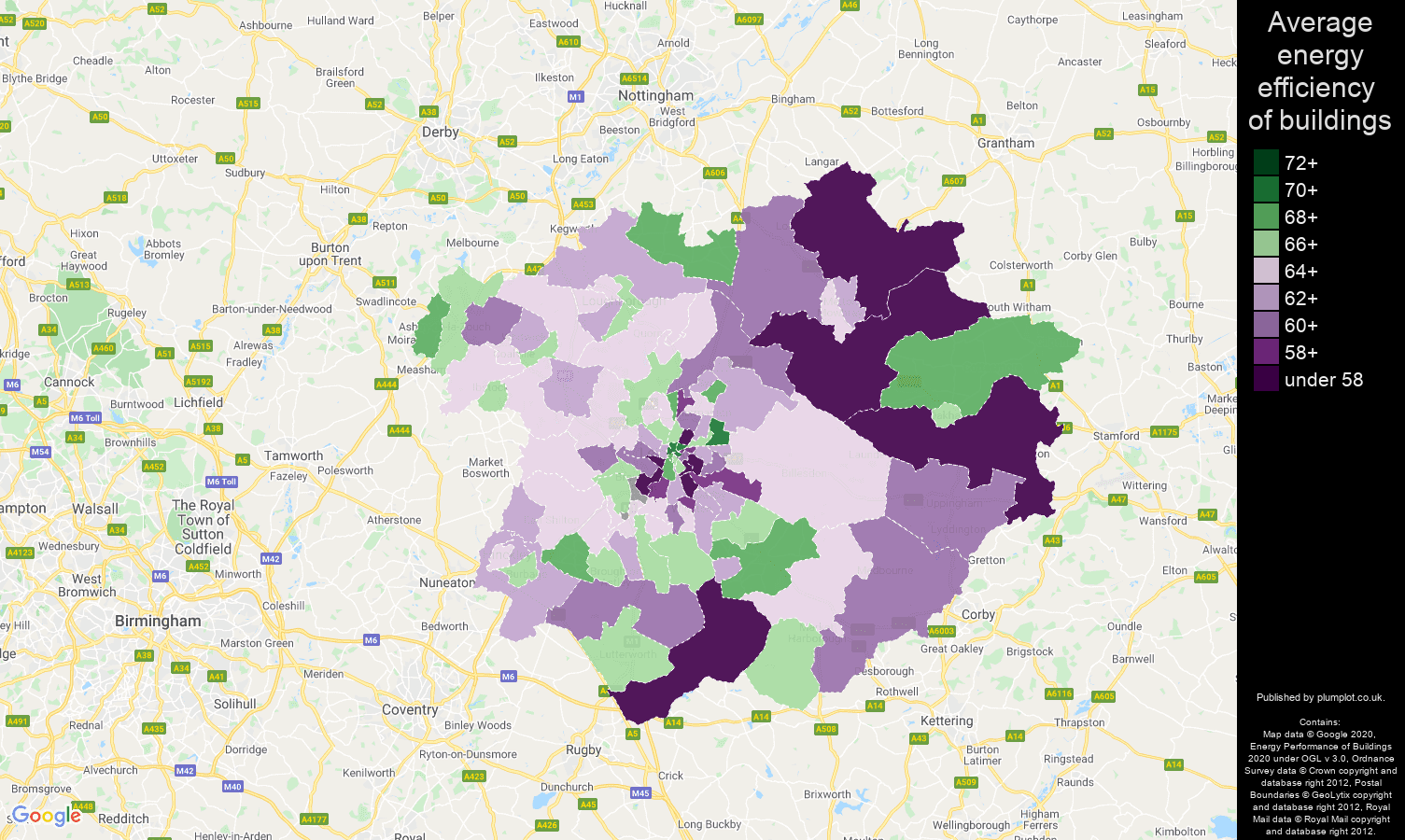 Leicester map of energy efficiency of properties