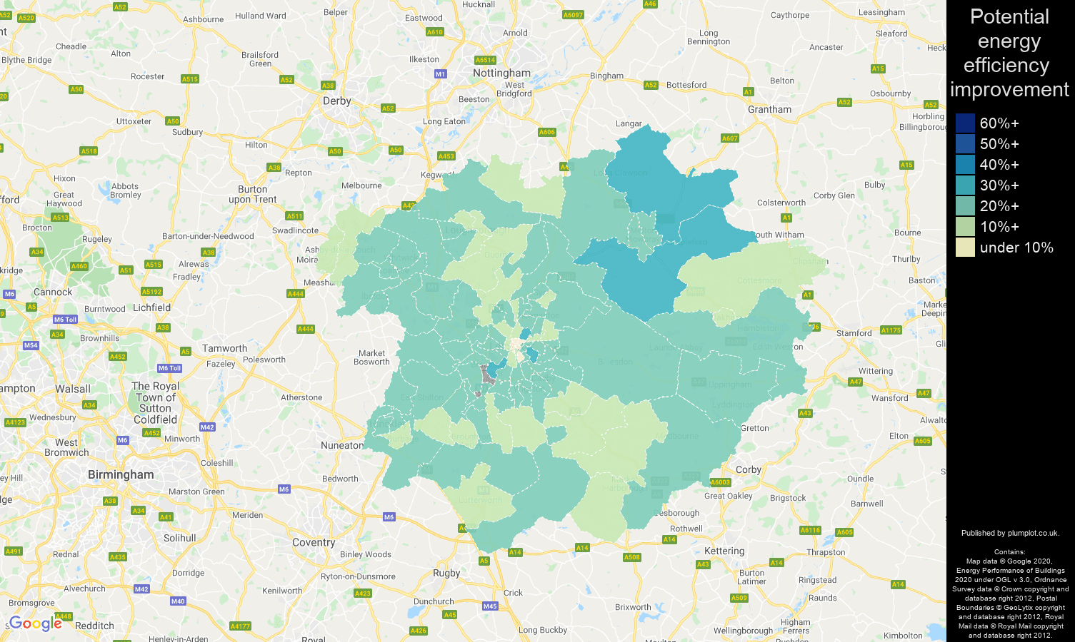 Leicester map of potential energy efficiency improvement of properties