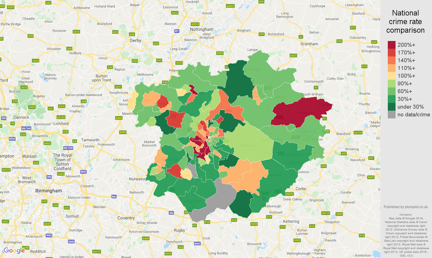 Leicester other crime rate comparison map