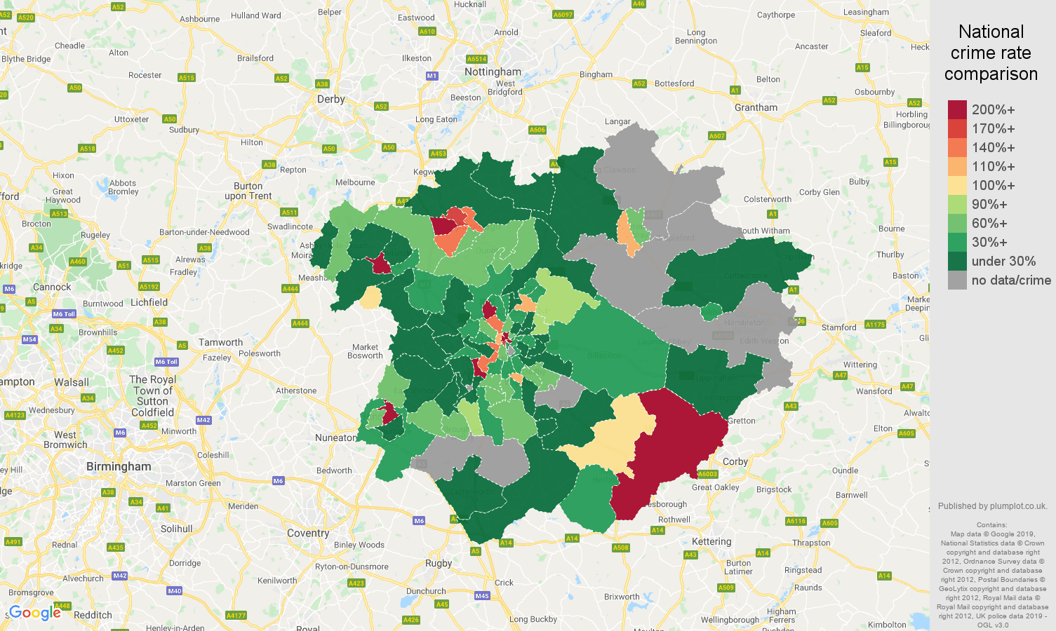 Leicester shoplifting crime rate comparison map