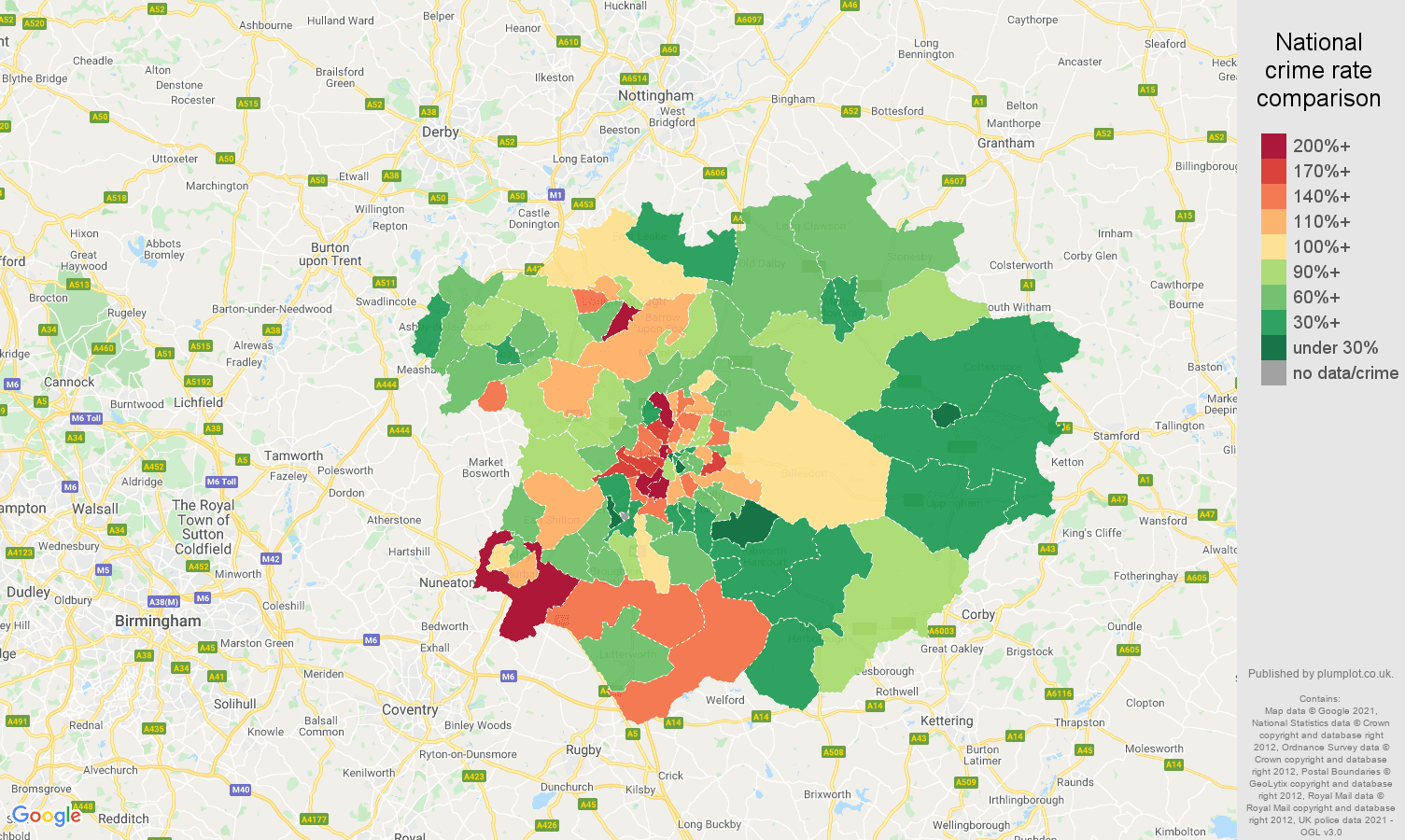 Leicester vehicle crime rate comparison map
