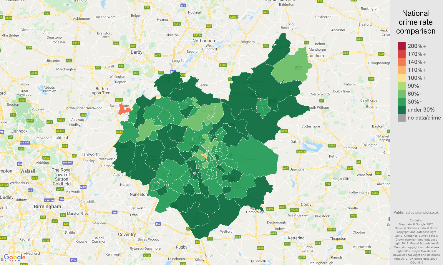 Leicestershire antisocial behaviour crime rate comparison map