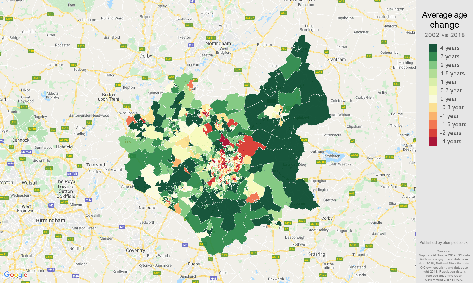 Leicestershire average age change map
