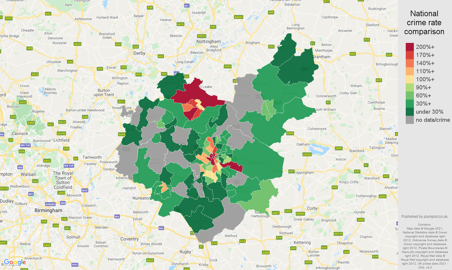 Leicestershire bicycle theft crime rate comparison map