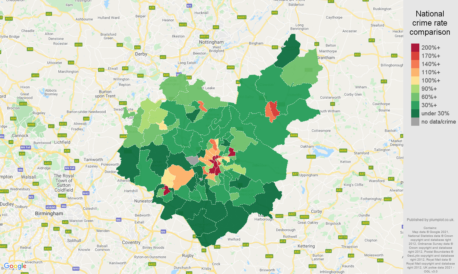 Leicestershire drugs crime rate comparison map