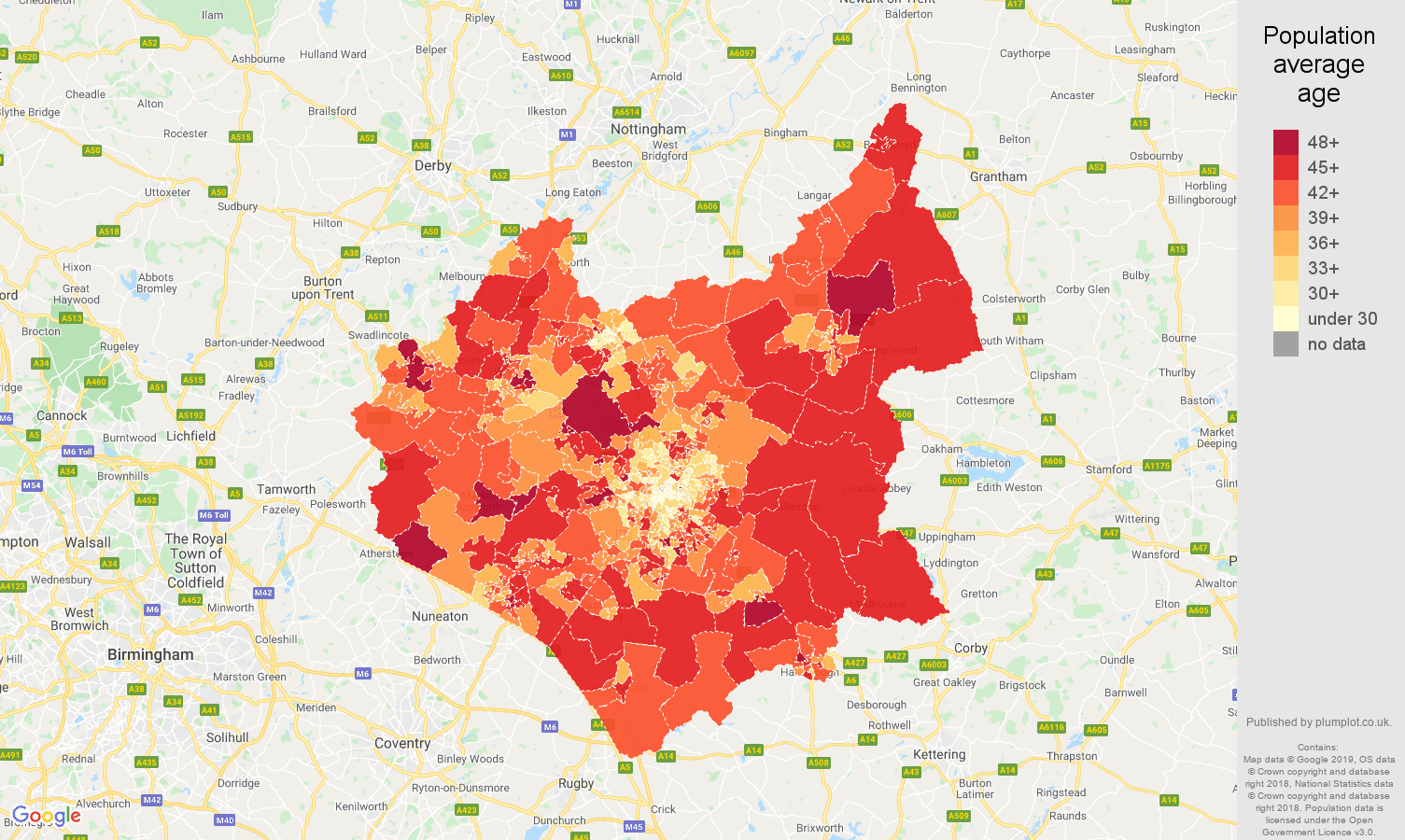 Leicestershire population average age map