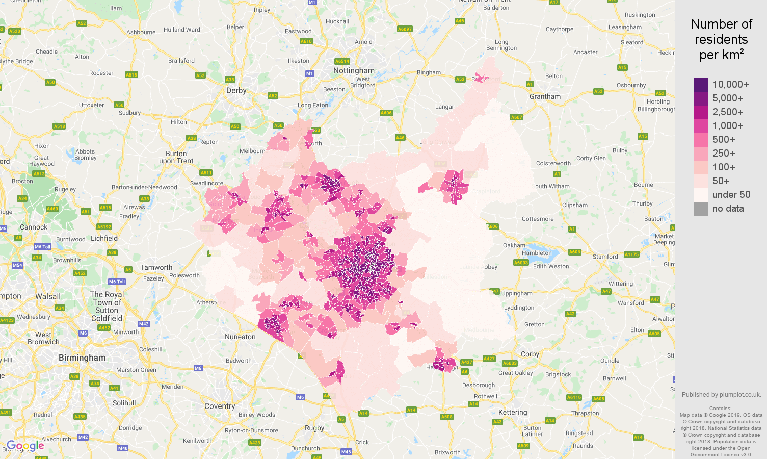 Leicestershire population density map