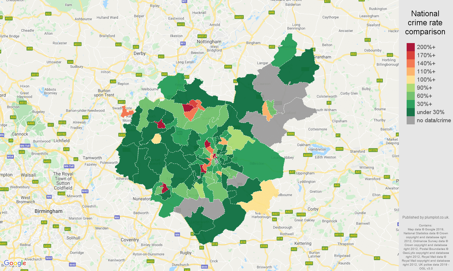 Leicestershire shoplifting crime rate comparison map