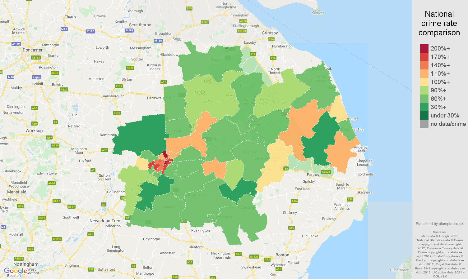 Lincoln antisocial behaviour crime rate comparison map