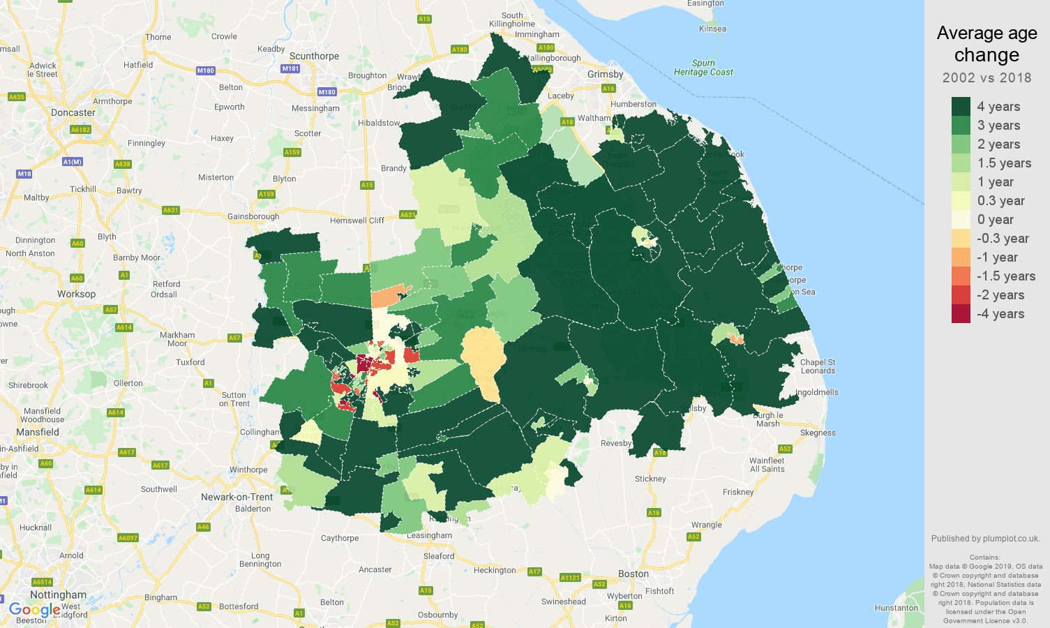 Lincoln average age change map