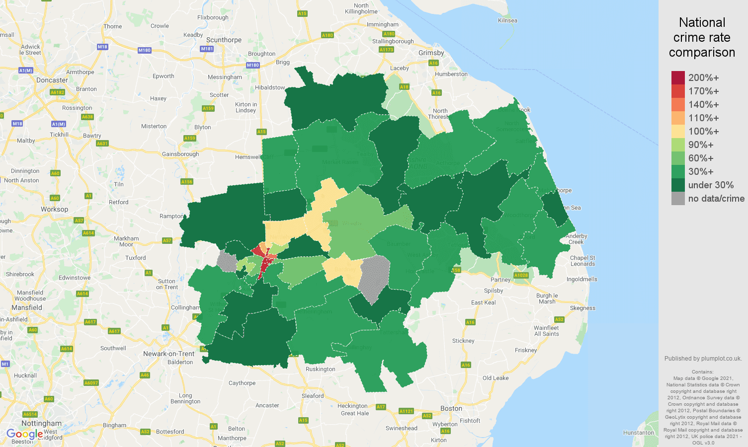 Lincoln drugs crime rate comparison map