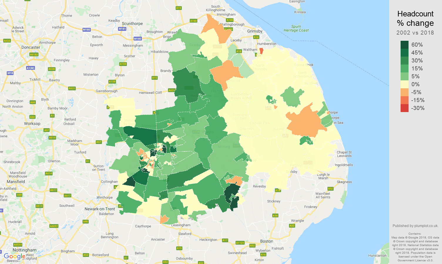 Lincoln headcount change map