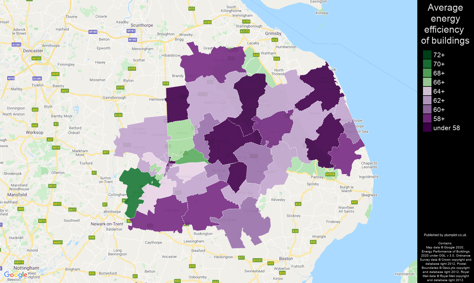 Lincoln map of energy efficiency of houses