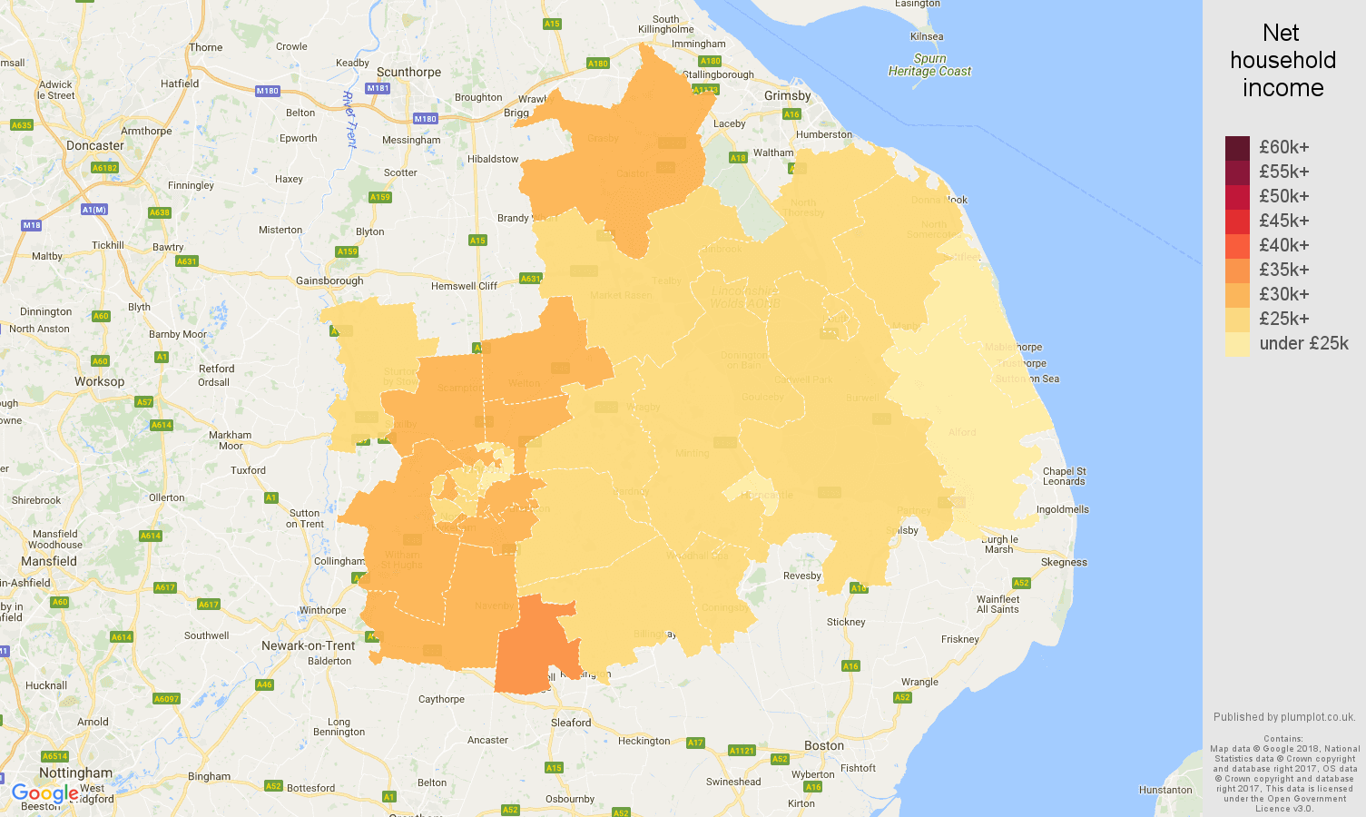 Lincoln net household income map