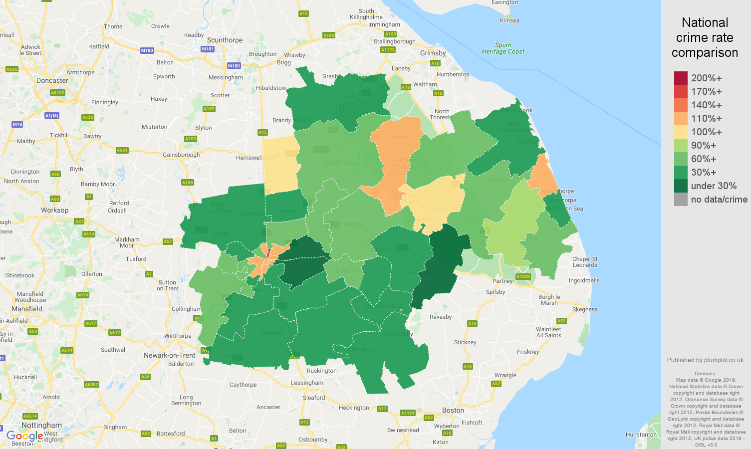 Lincoln other theft crime rate comparison map