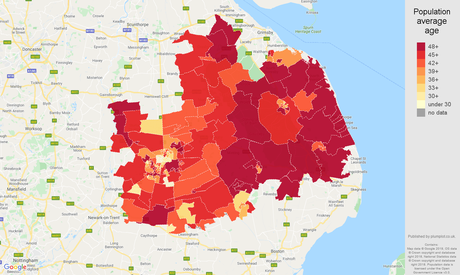 Lincoln population average age map