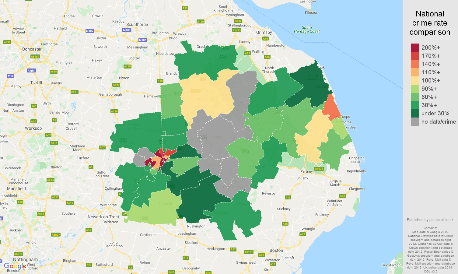 Lincoln possession of weapons crime rate comparison map
