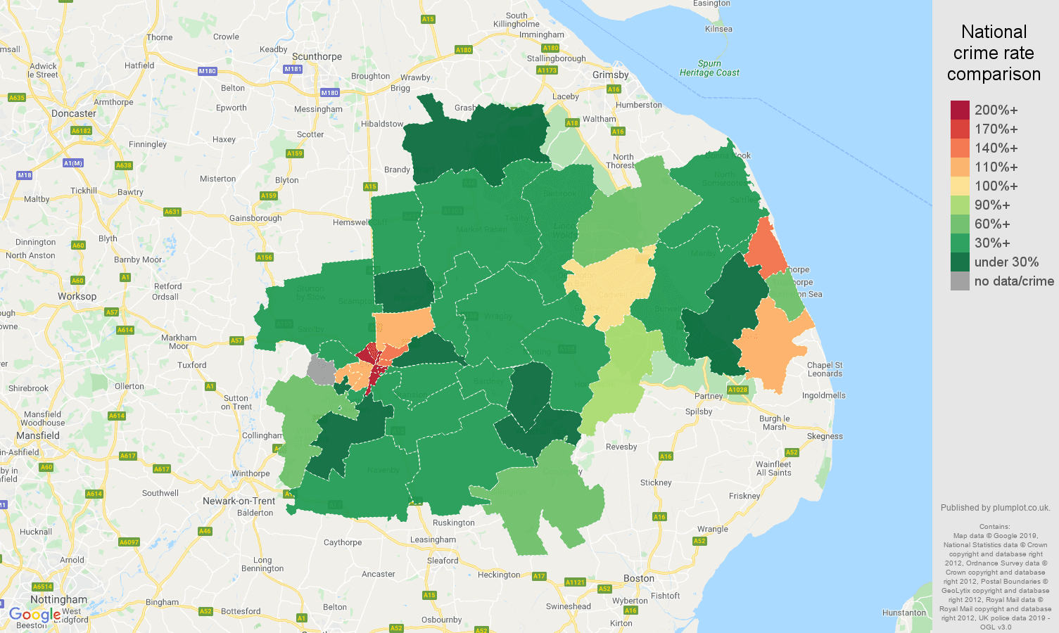 Lincoln public order crime rate comparison map
