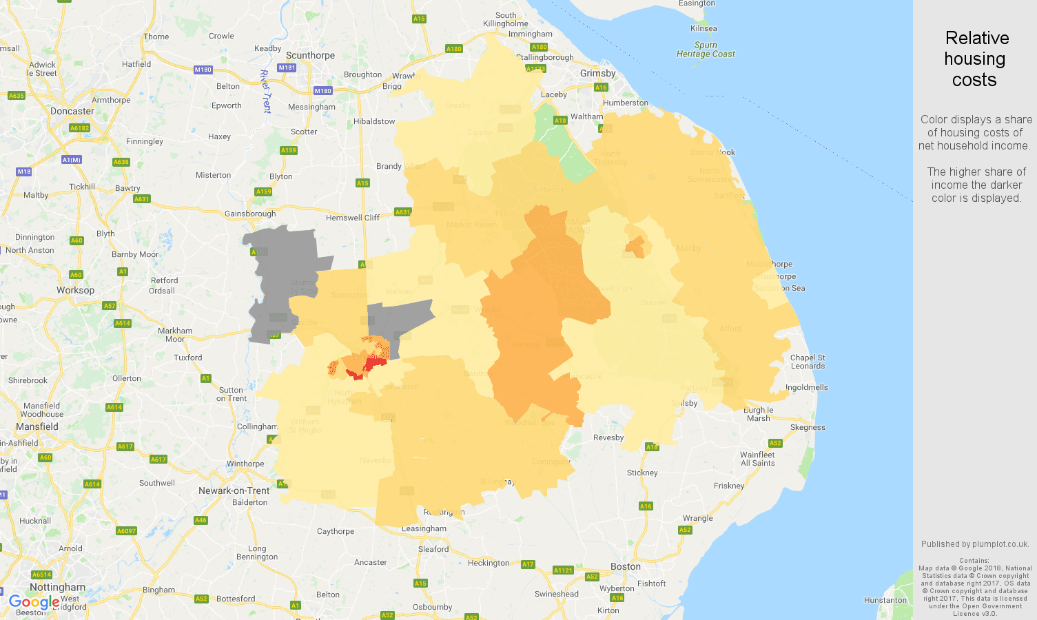 Lincoln relative housing costs map
