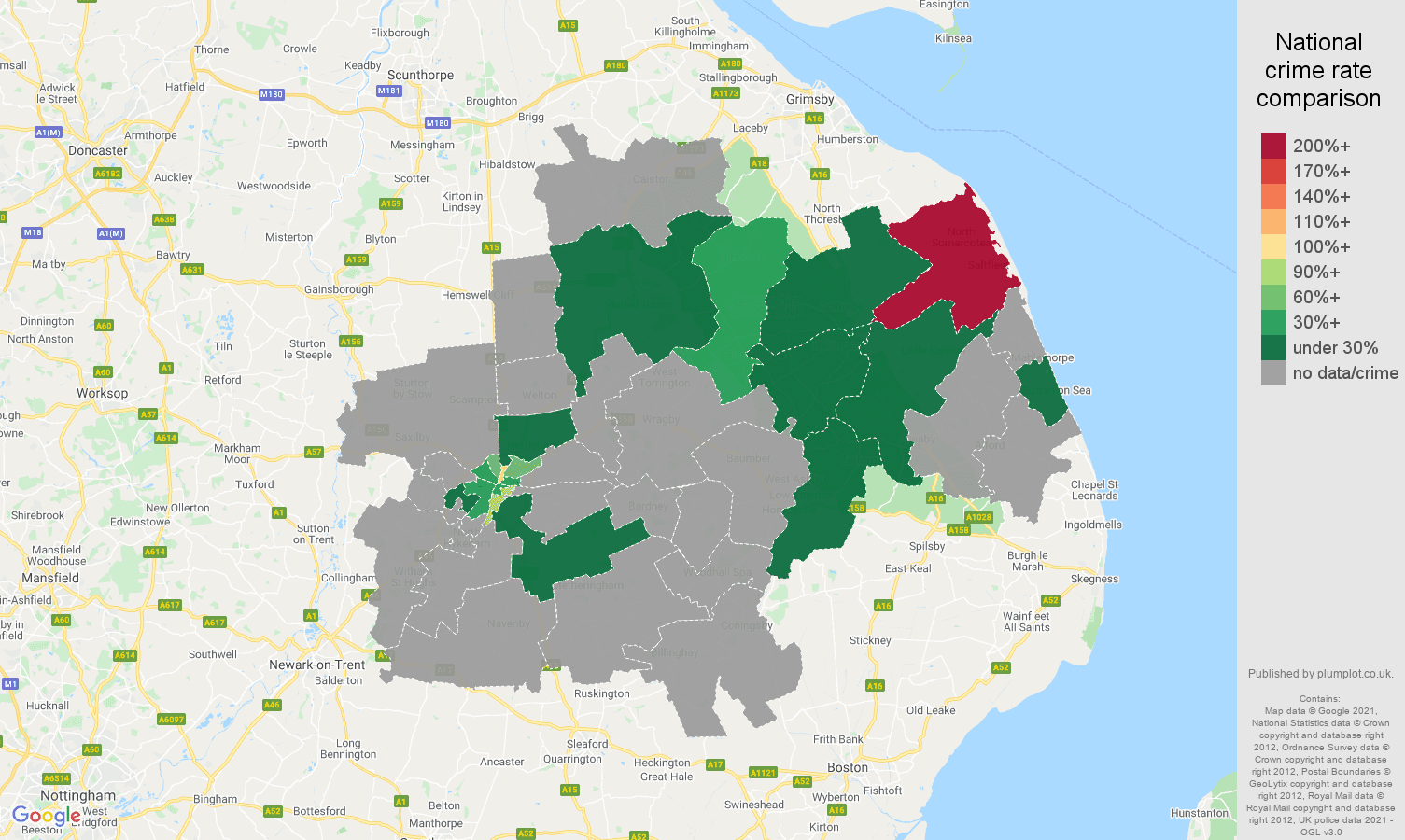Lincoln theft from the person crime rate comparison map
